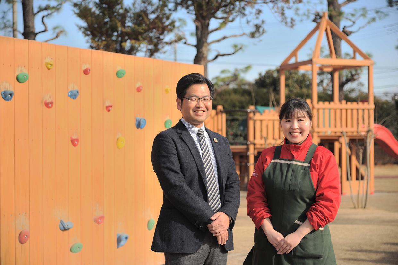 埼玉種畜牧場の小川様(右)と、ザイエンス千脇氏(左)